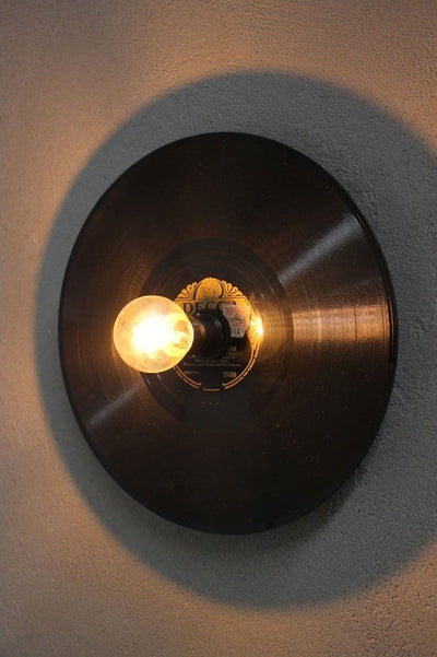 Vintage style record wall light for bars or cafes