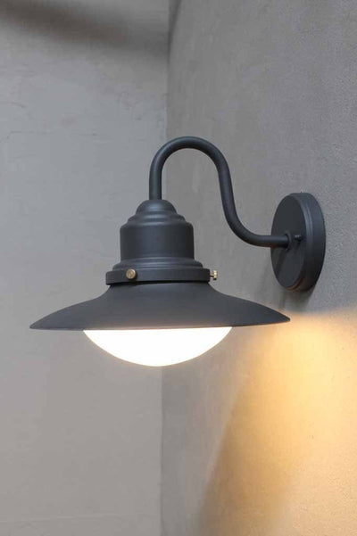 Exterior outdoor wall light in graphite. steel body with glass shade ideal for patio verhandahs or bbq areas