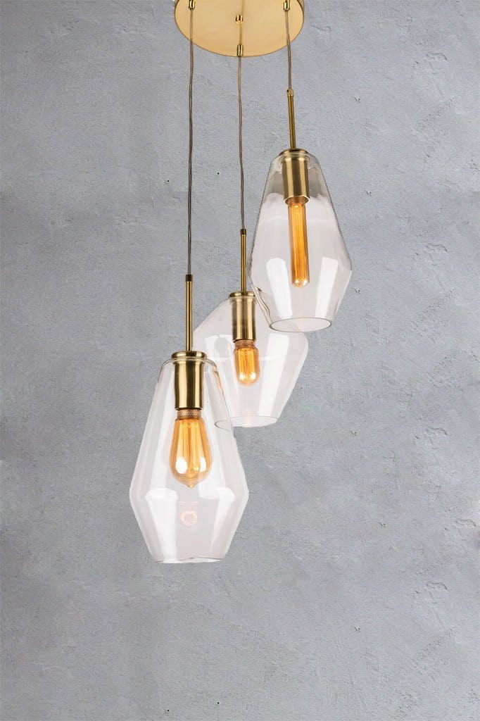 Farleigh three light pendant lighting glass blown gold metalware
