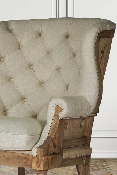 French provincial wingback fabric armchair classic weave hand nailed exposed hardwood frame