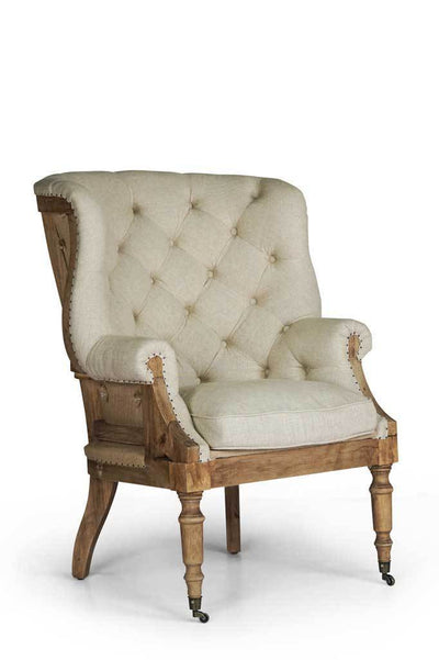 French provincial wingback fabric armchair cream classic weave hand nailed exposed hardwood frame