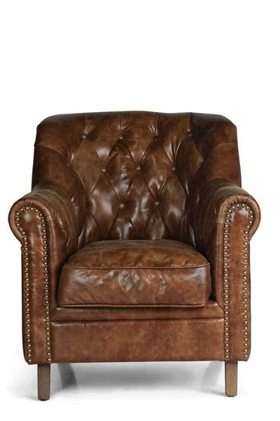 Front 2 chesterfield leather club chair Australian online furniture small armchair brass studs