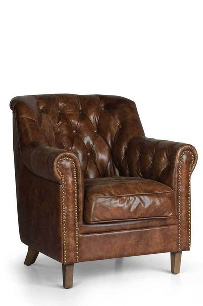 Front on chesterfield leather club chair Australian online furniture small armchair brass studs