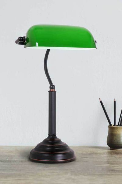 Green table lamp antique vintage office lamps Melbourne