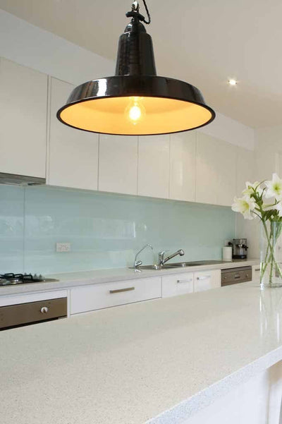 High top smokehouse black enamel pendant light over kitchen island and ideal kitchen lighting with edison light bulb. online lighting