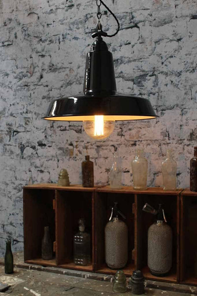 High top smokehouse light is a robust quality steel shade with twisted cord and chain suspension