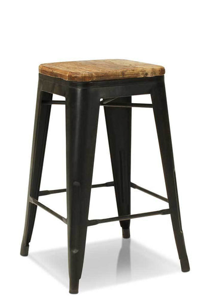 Industrial counter stool black natural wood seat