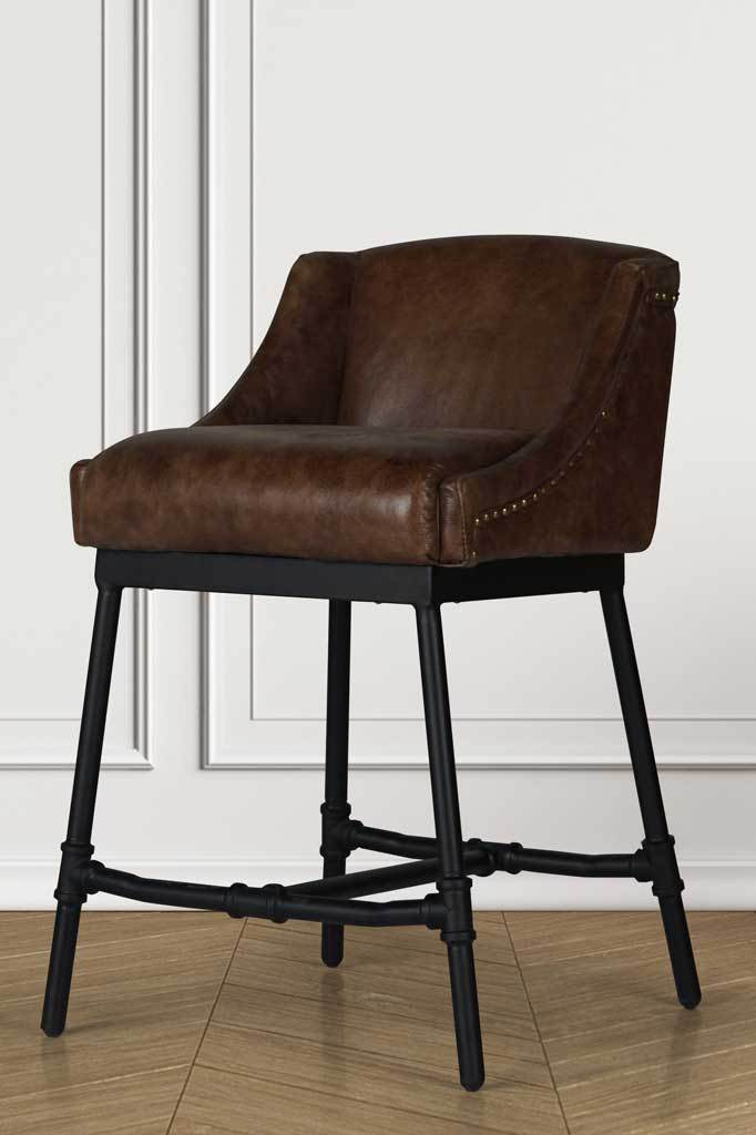 Industrial decor brown leather counter stool bar chair online