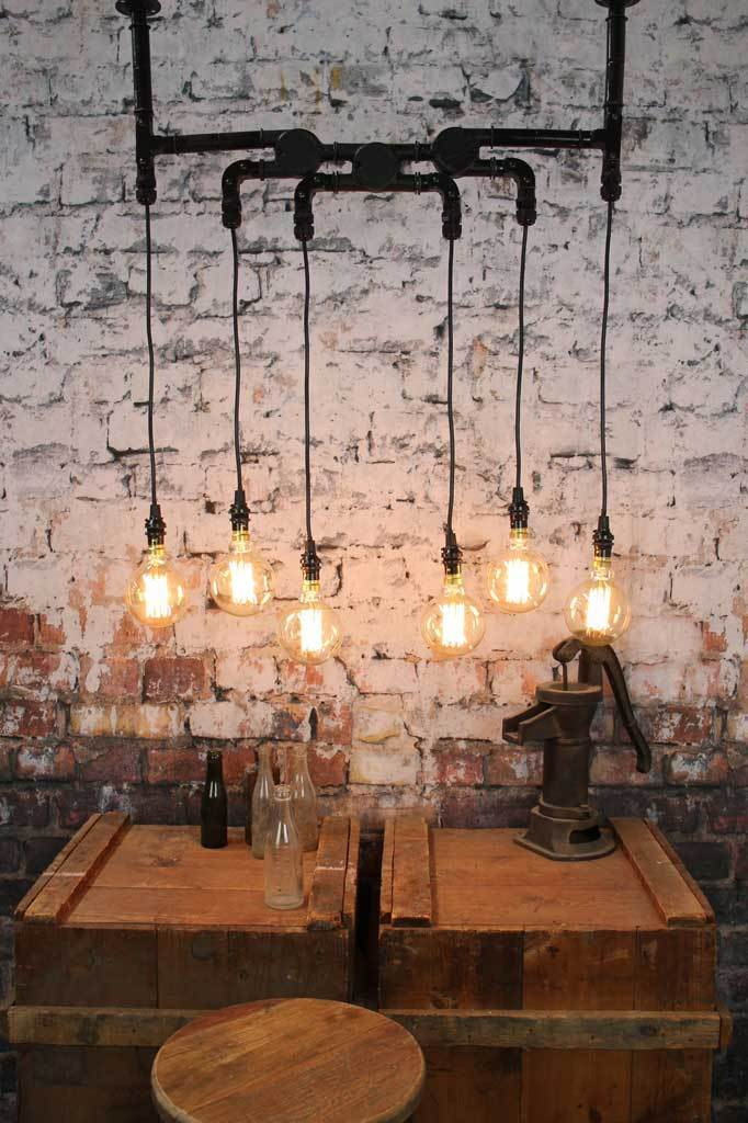 Industrial pendant hanging light black steel lighting