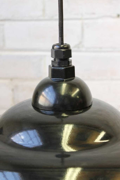 Industrial pendant light with black enamel shade