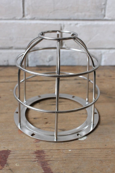 Industrial cage light pendant silver cage