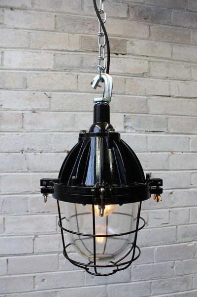 Industrial cage light pendant with chain and hook