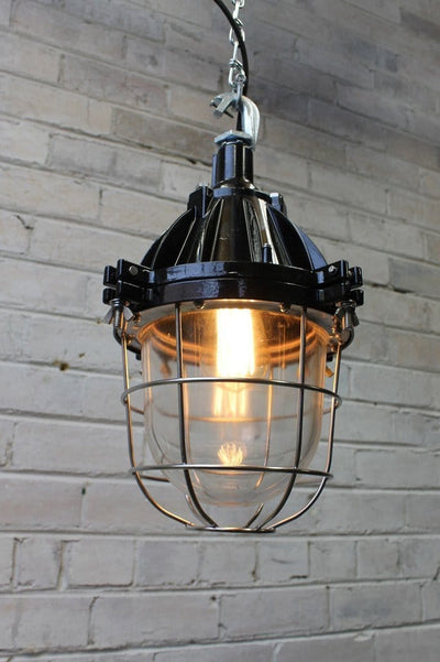 Industrial cage light pendant with silver cage