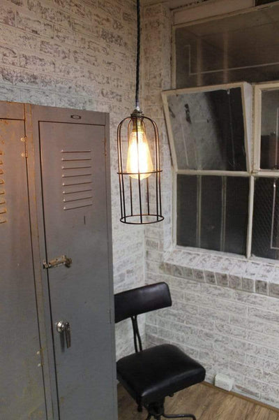 Industrial style long cage pendant light