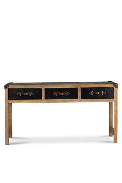 Interior design furniture leather wood console table storage draws