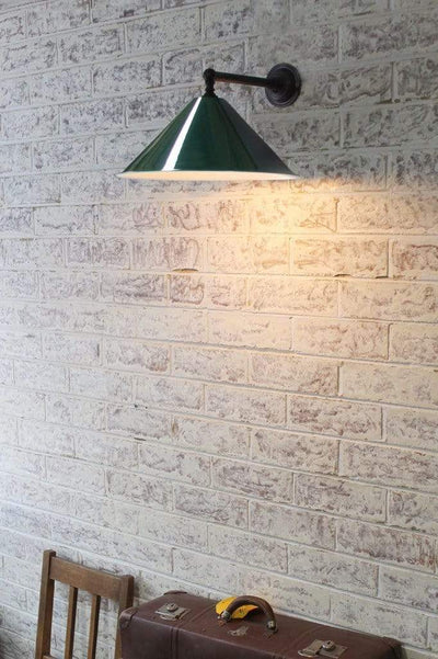 Large green cone wall lamp
