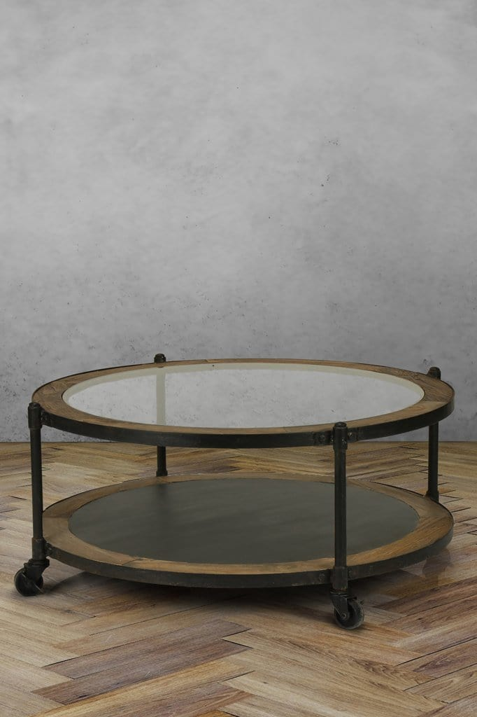 Orleans Round Glass Coffee Table Table With Wheels Fat Shack