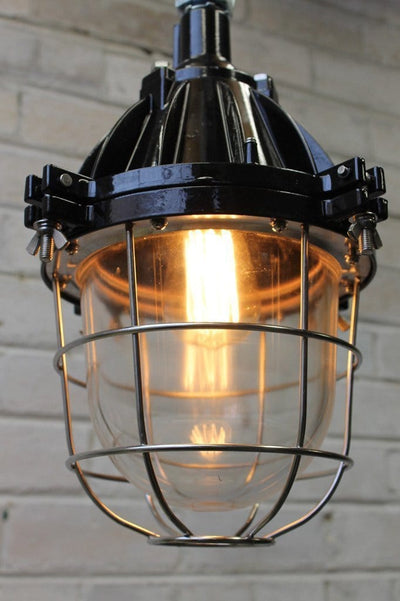 Large industrial cage light with silver cage