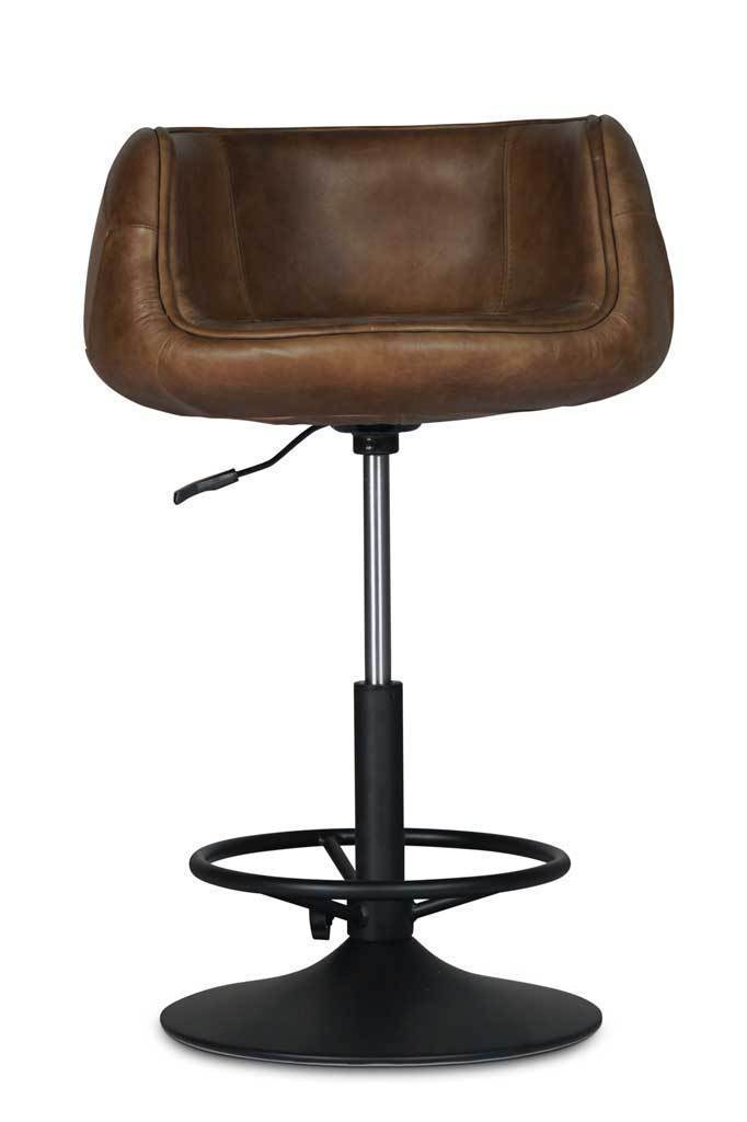 Brown leather kitchen bar stool vintage furniture online Melbourne