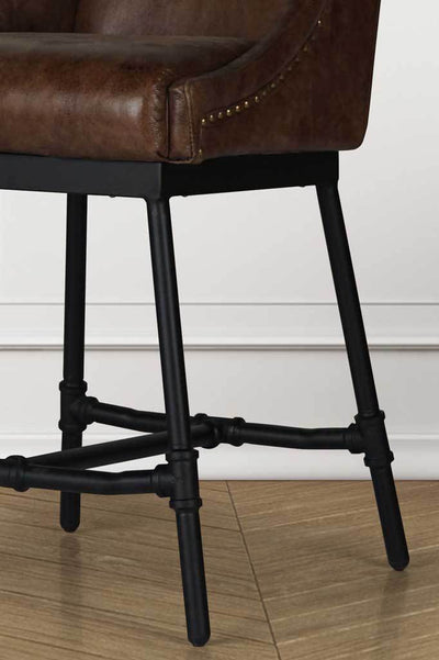 Leather stool industrial decor online furniture Australia