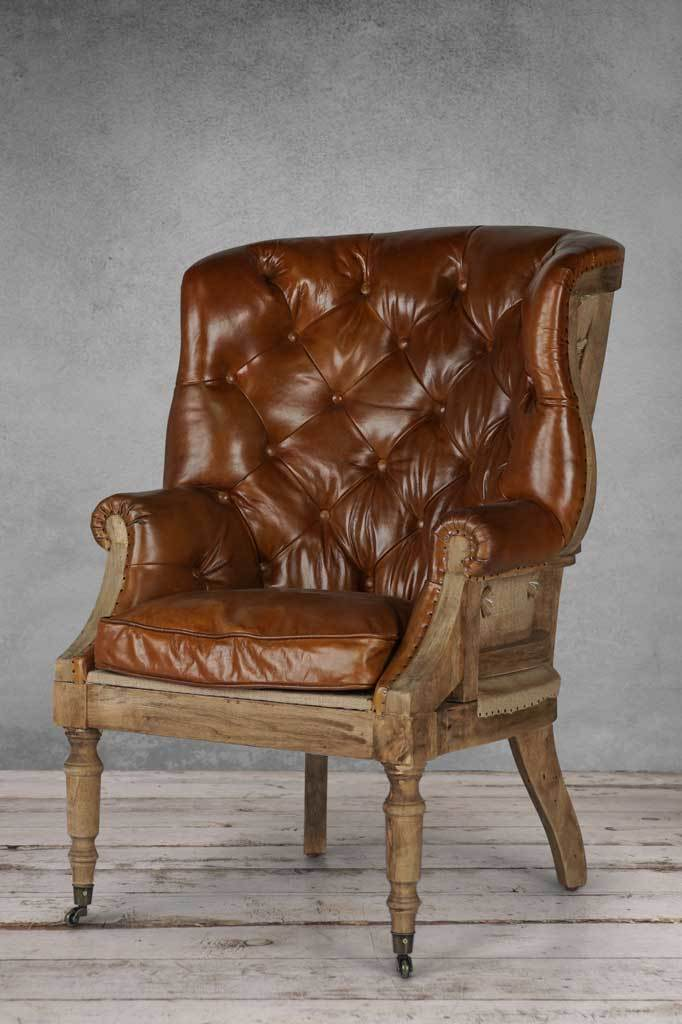 Leather vintage armchair wingback deconstructed chair