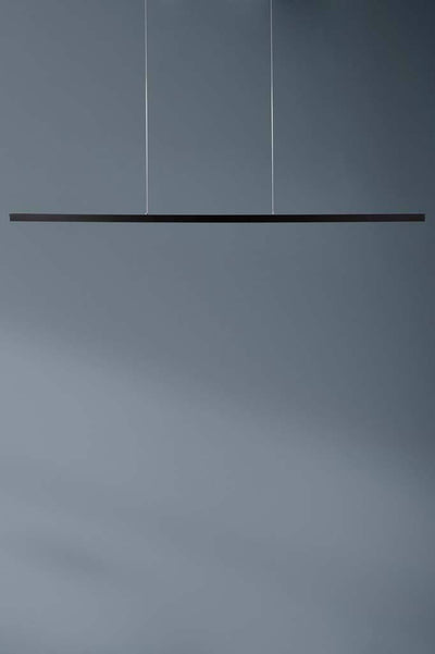 Black linear pendant light with stainless steel cables