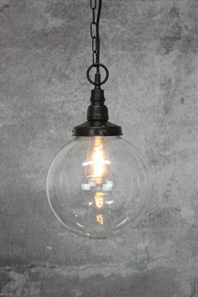 Medium clear glass ball pendant lighting in Melbourne shop