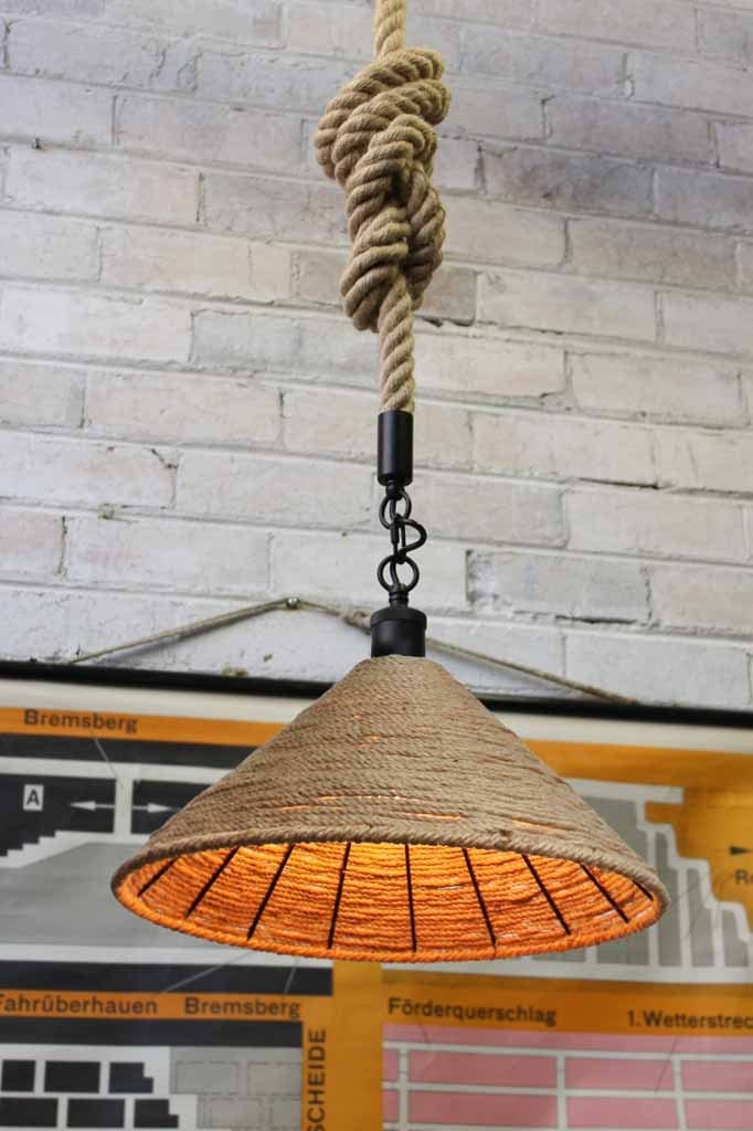 modern farmhouse light with rope shade