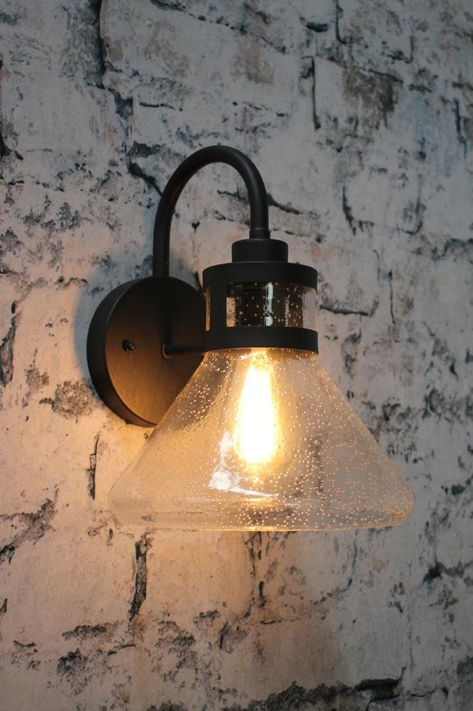 Modern wall light for home bathroom or hallway with clear shade