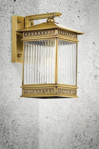 reeded glass brass wall lamp