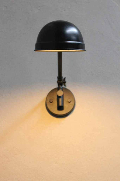 Modern industrial wall lamp is a stylish and practical lighting solution for any room. black metal shade with black wall sconce