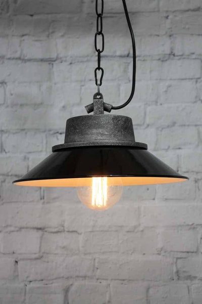 Nautical styled lighting with black shade and edison styled bulb