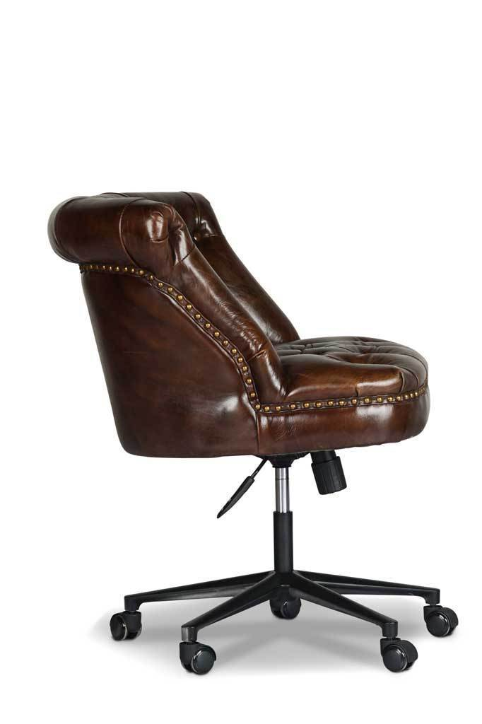 Huxley Tufted Back Leather Desk Chair | Hand-crafted ...