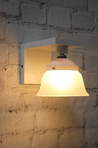 Opal glass shade with hamptons style wooden wall sconce wall lighting