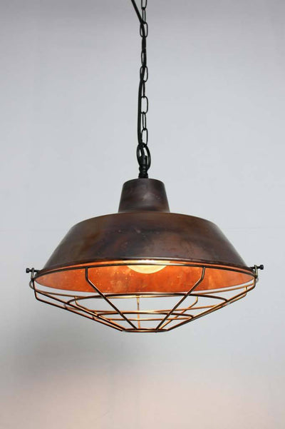 Pendant lights Australia vintage industrial copper lighting top entry antique cage