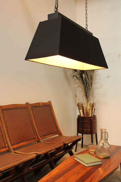 Provincial industrial pendant light. fabric lighting Australia. black lighting online