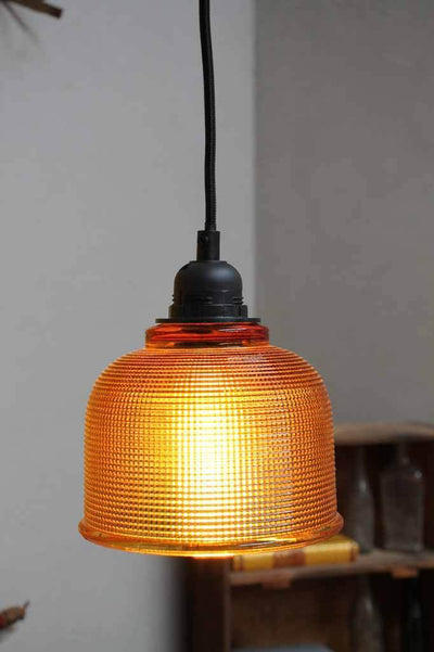 Retro lighting amber glass shade with black pendant cord