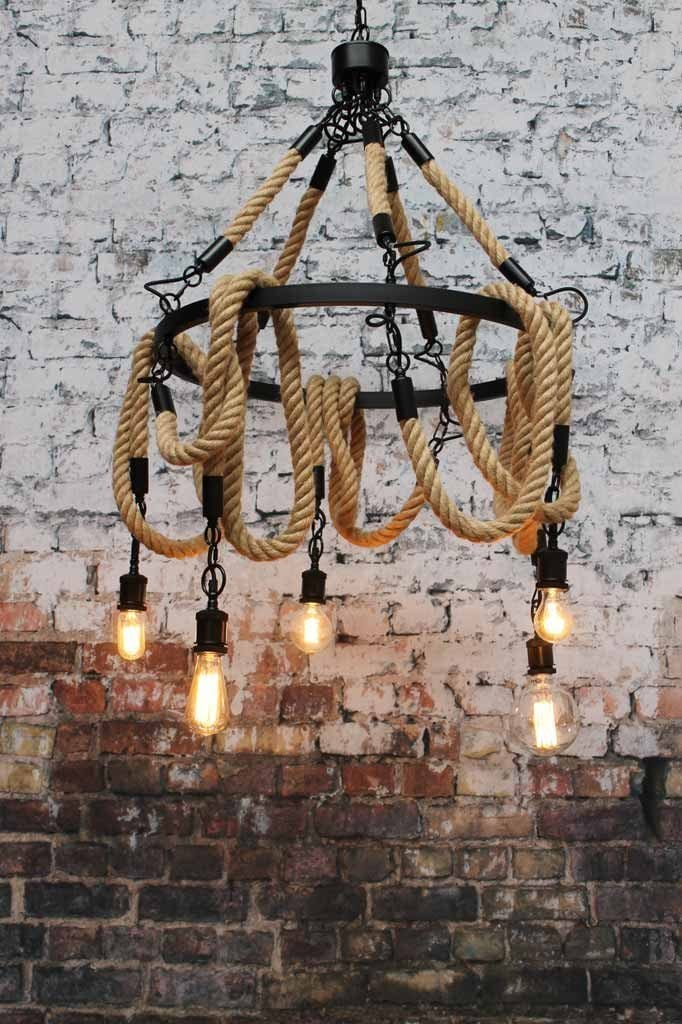 Rope chandelier multi light has a twisted finish and is natural beige in colour