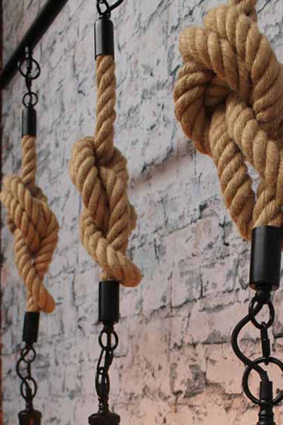 rope pendant light with knots in three pendants