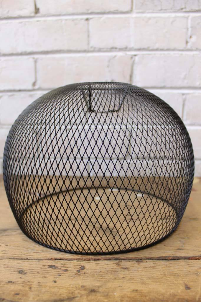 Round black mesh light shade