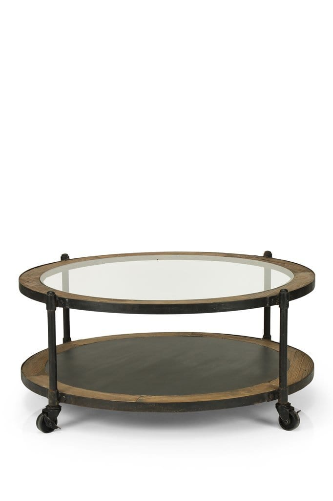 Orleans Round Glass Coffee Table Table With Wheels Fat Shack Vintage