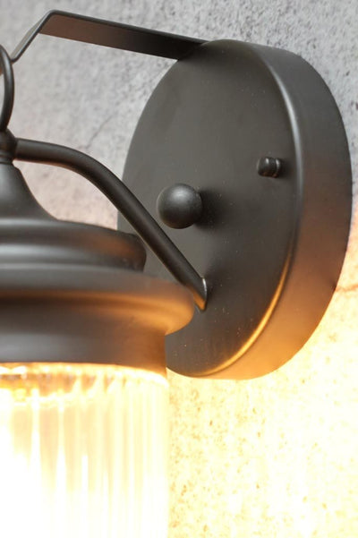 Round matt black steel wall light mounting plate