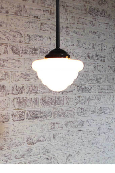 schoolhouse pendant light with rod pole suspension