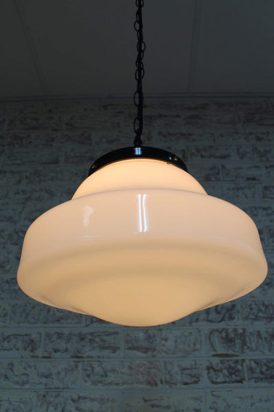 Schoolhouse Shade Pendant Light Hand Blown Glass And