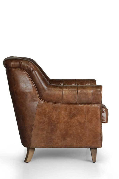 Side 1 chesterfield leather club chair Australian online furniture small armchair brown upholstery