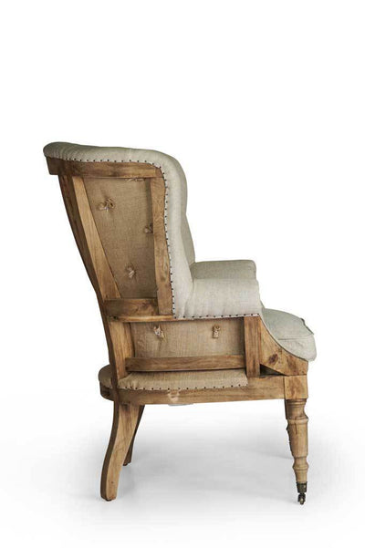 Side shot wingback french provincial fabric armchair Australian furniture online rustic bedroom living room