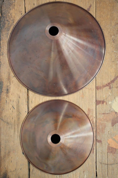 Small and large copper cone pendant lighting