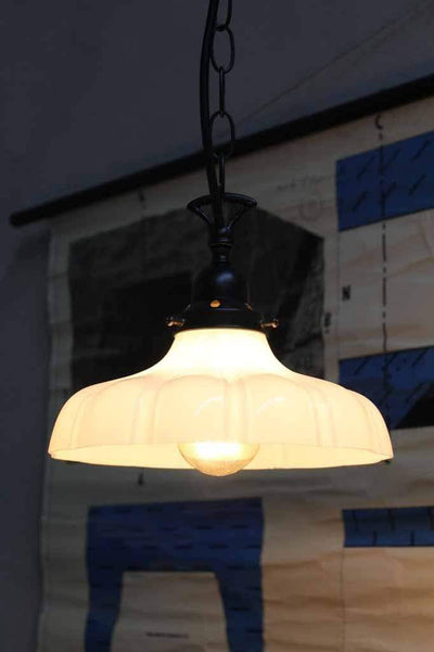 Small glass pendant light. modern classic. milky opal glass shade with chain suspension cord