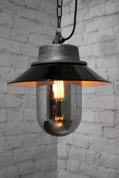 Smoked glass pendant light exposed bulb look