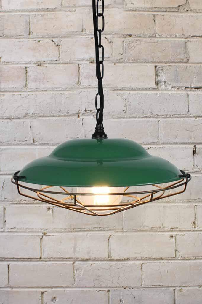 green and antique brass pendant light